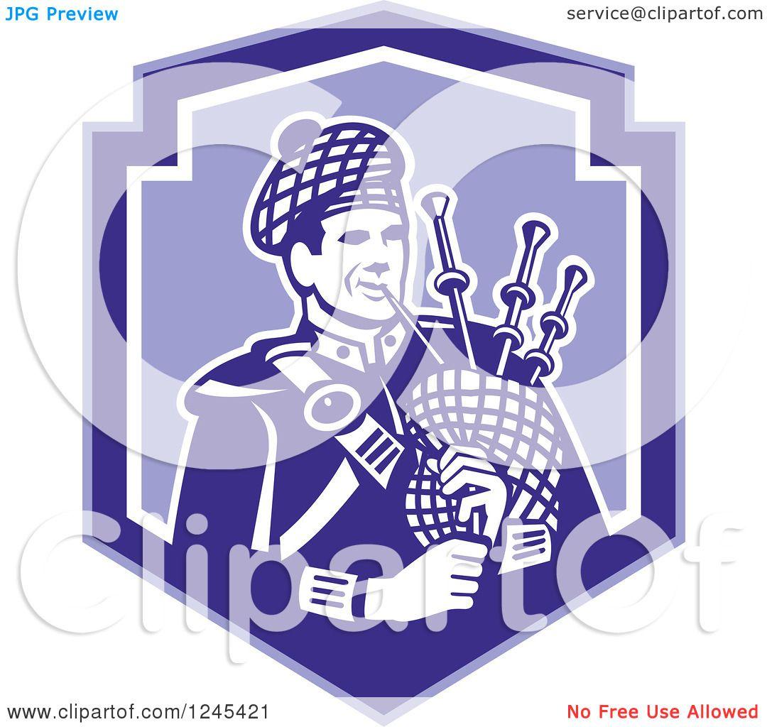 Clipart of a Retro Male Scotsman Bagpiper in a Blue Shield ...