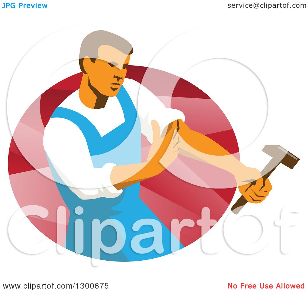 Clipart of a retro male worker rolling up sleeve and