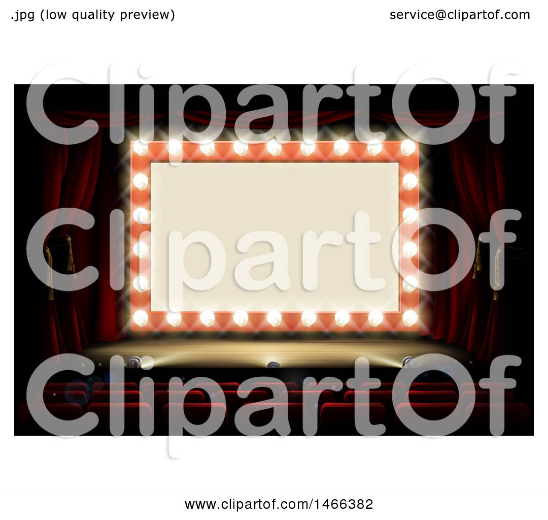 Clipart Of A Retro Marquee Theater Sign With Light Bulbs On Stage