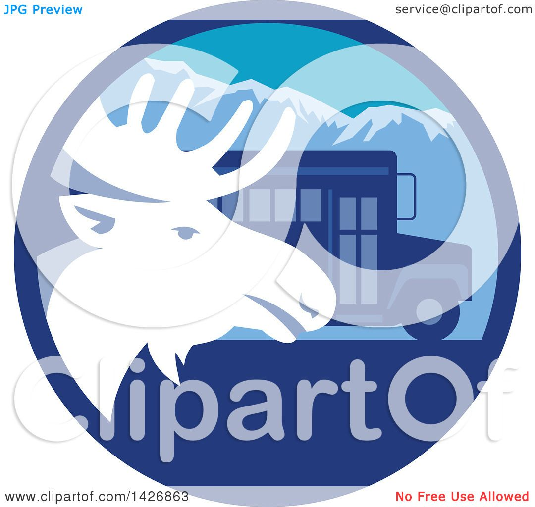 clipart of a retro moose head and a bus in a blue mountain