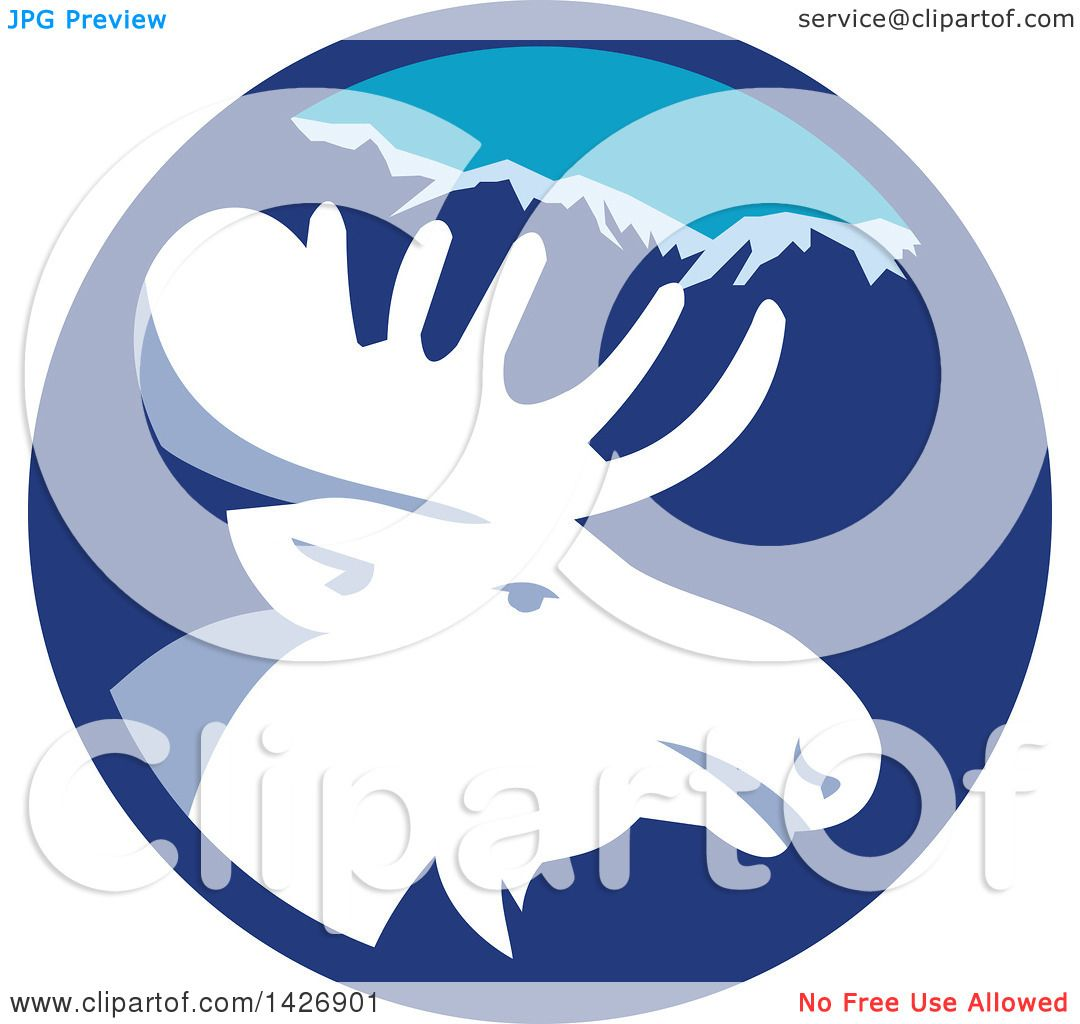 clipart of a retro moose head in a blue mountain circle royalty