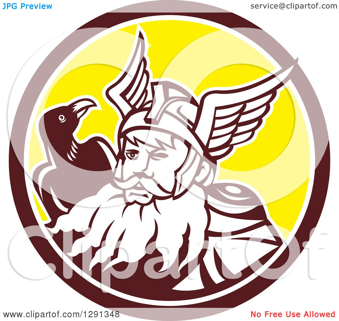 clipart of a retro norse mythology god odin with a crow in a brown