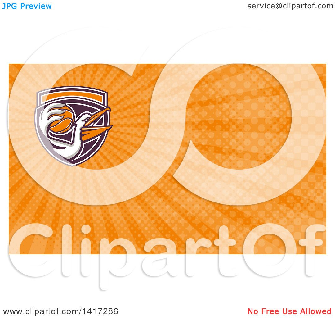 Clipart of a Retro Pelican Bird Holding a Basketball and Orange Rays ...