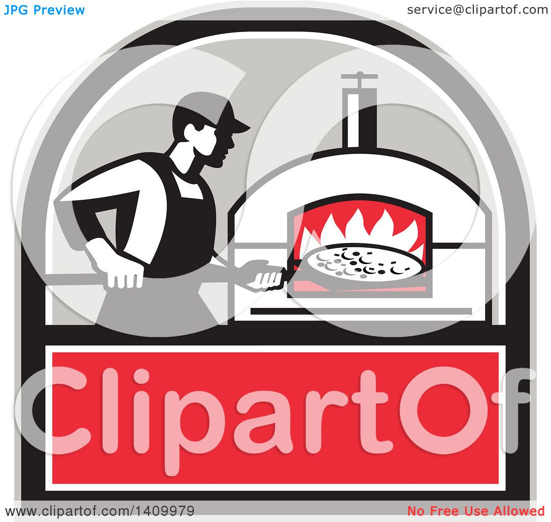 Clipart Of A Retro Pizza Chef Holding Peel With Pie In Front Wood Fired Oven Black Gray White And Red Crest