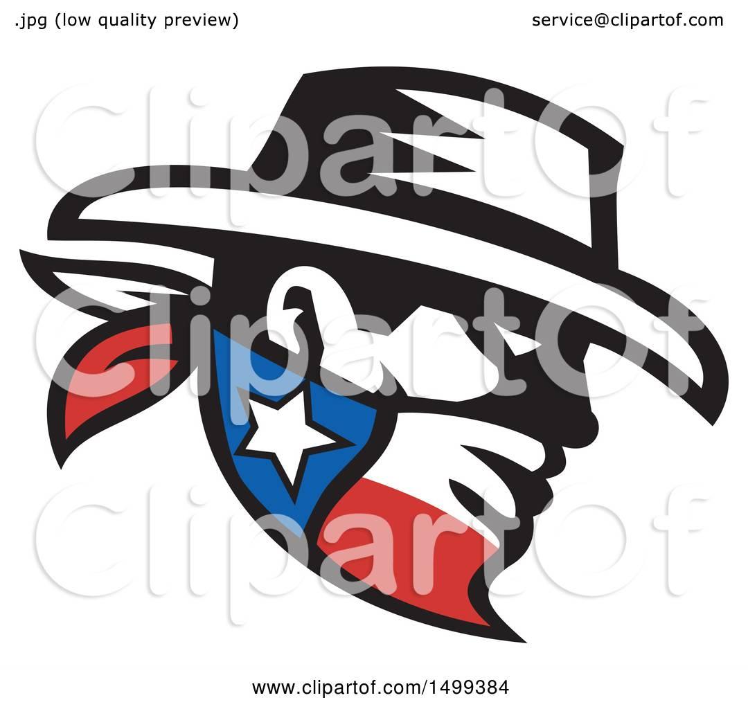 Clipart Of A Retro Profiled Cowboy Bandit Face Wearing Texan Bandana