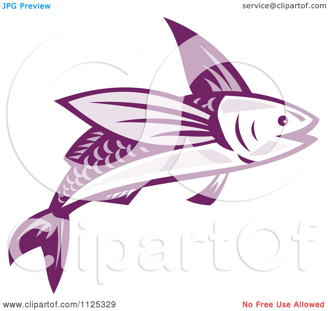 Clipart Of A Retro Purple Flying Fish - Royalty Free Vector ...