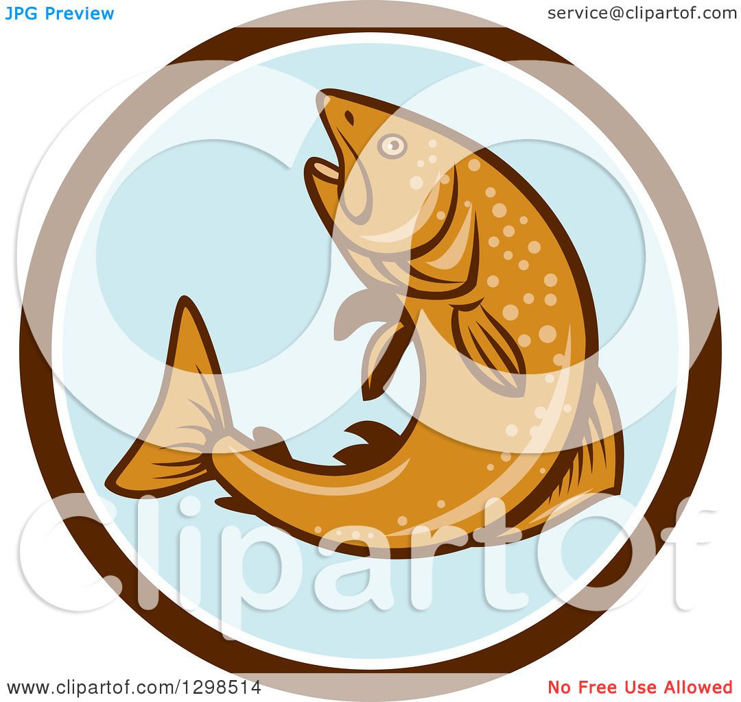 Clipart of a Retro Rainbow Trout Fish Jumping in a Brown ...