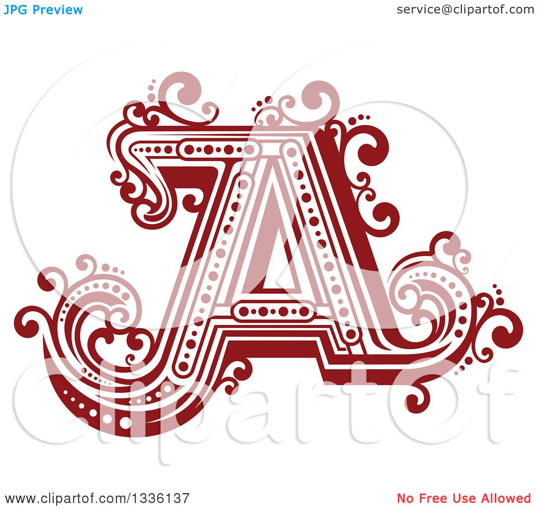 Clipart of a Retro Red Capital Letter a with Flourishes - Royalty ...