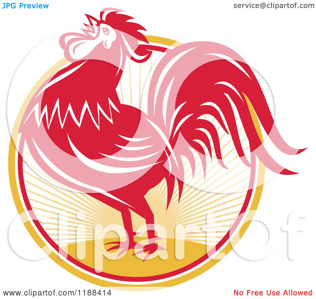 Clipart of a Retro Red Crowing Rooster over a Sunrise ...