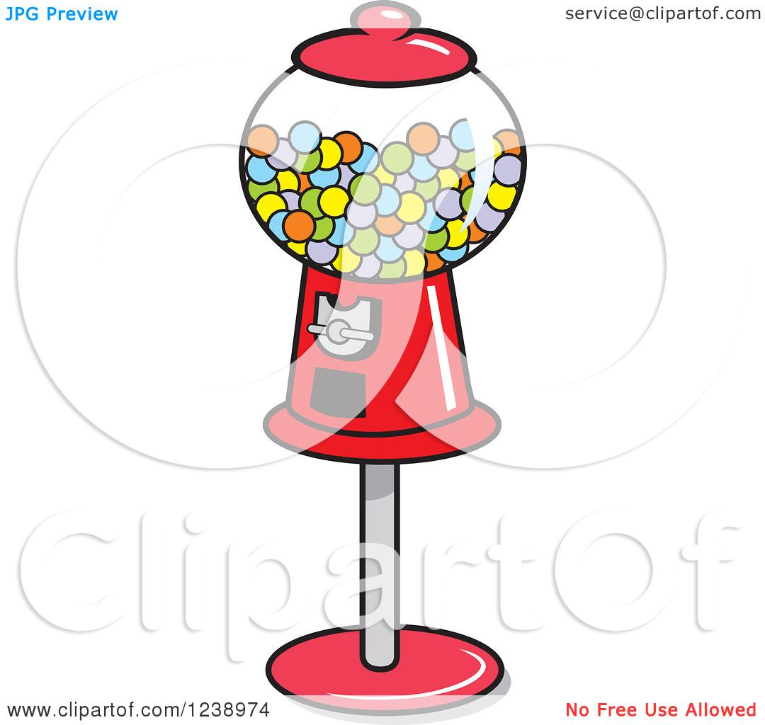 Free coloring page gumball machine - Clipart Of A Retro Red Gumball Machine Royalty Free Vector Illustration By Johnny Sajem