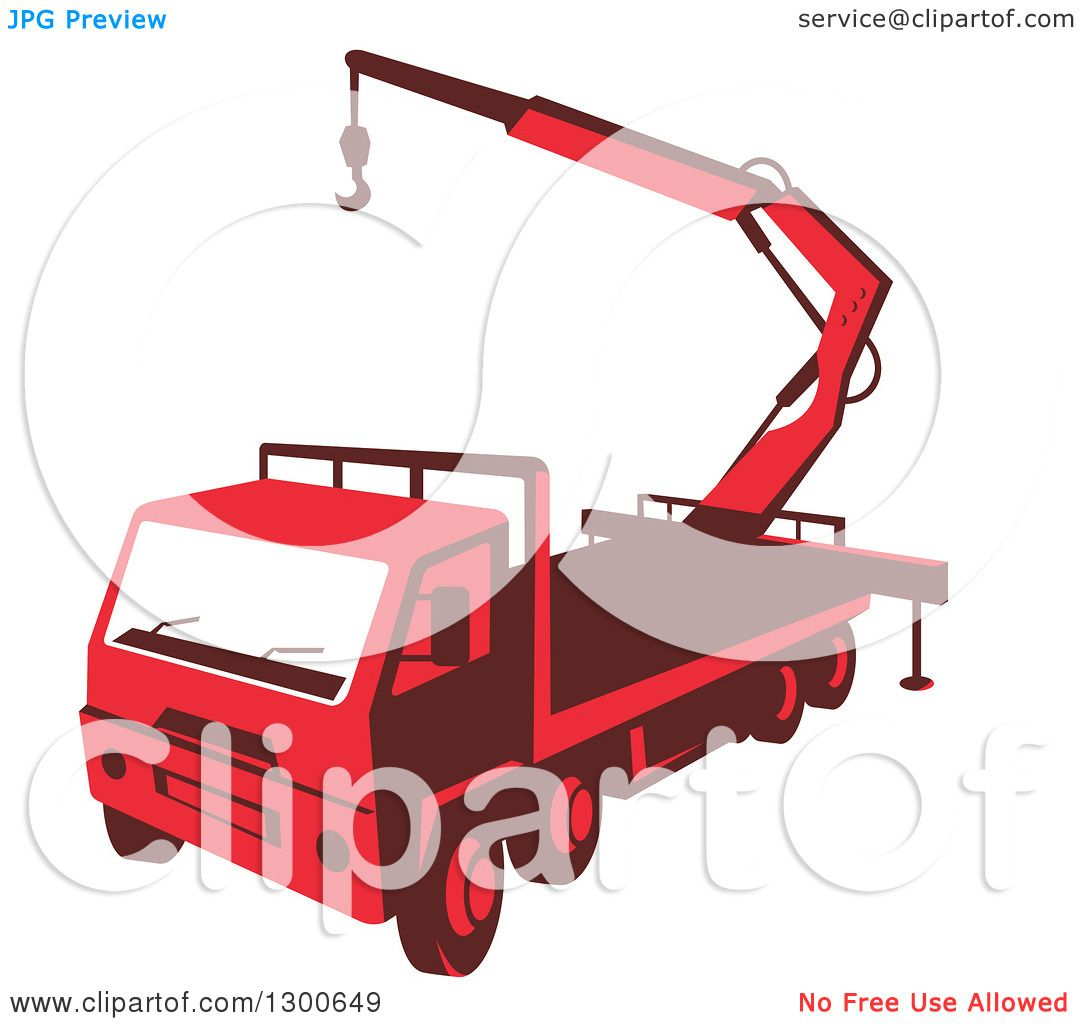 Clipart Of A Retro Red Truck Mounted Hydraulic Crane Cartage With Boom Hoist