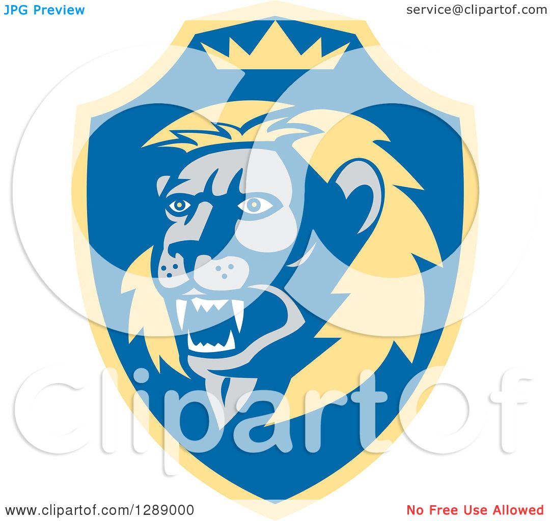 Blue lion logo with crown - photo#21