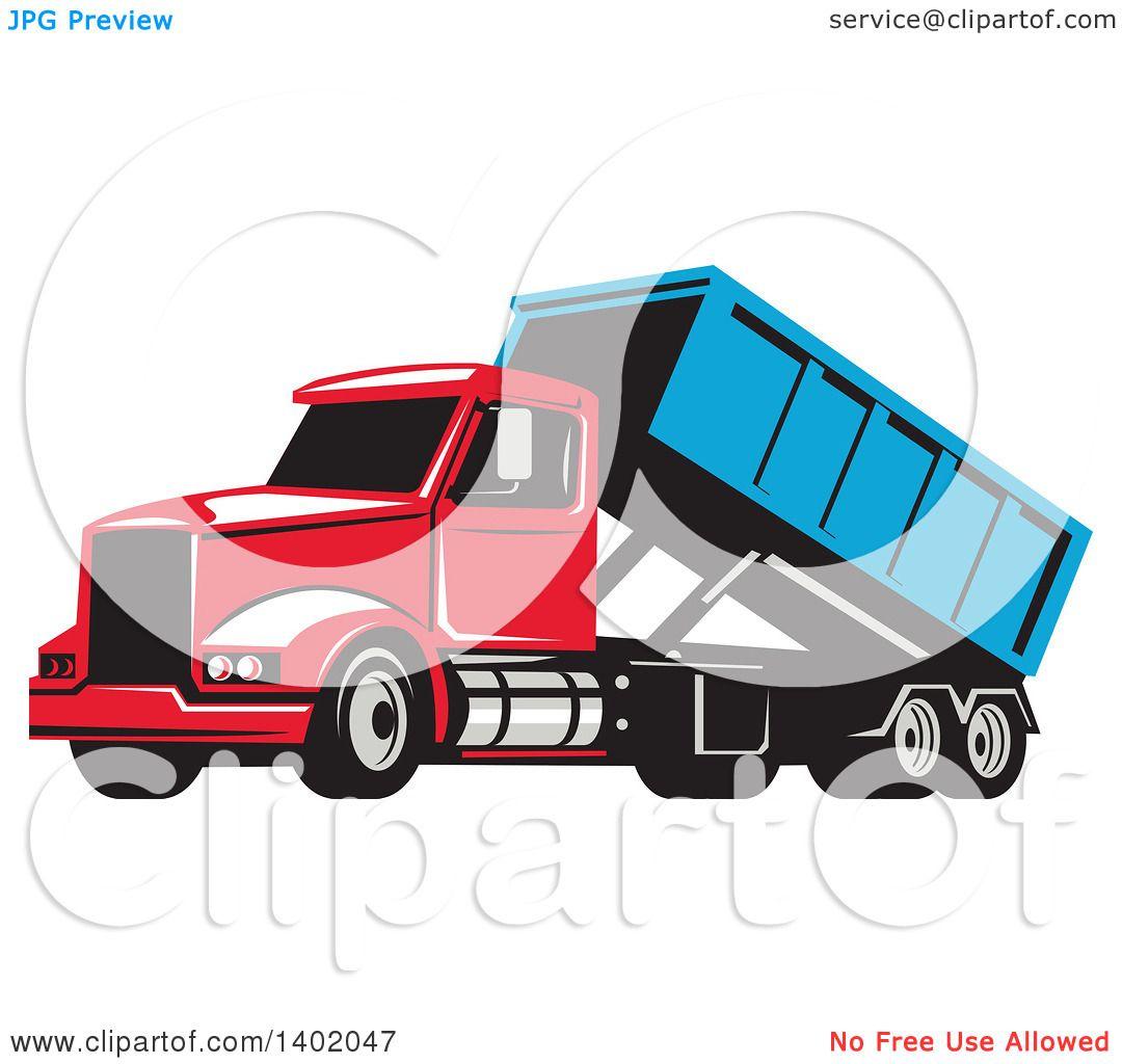 clipart of a retro roll off bin dump truck royalty free vector rh clipartof com dump truck clipart png dump truck clipart images