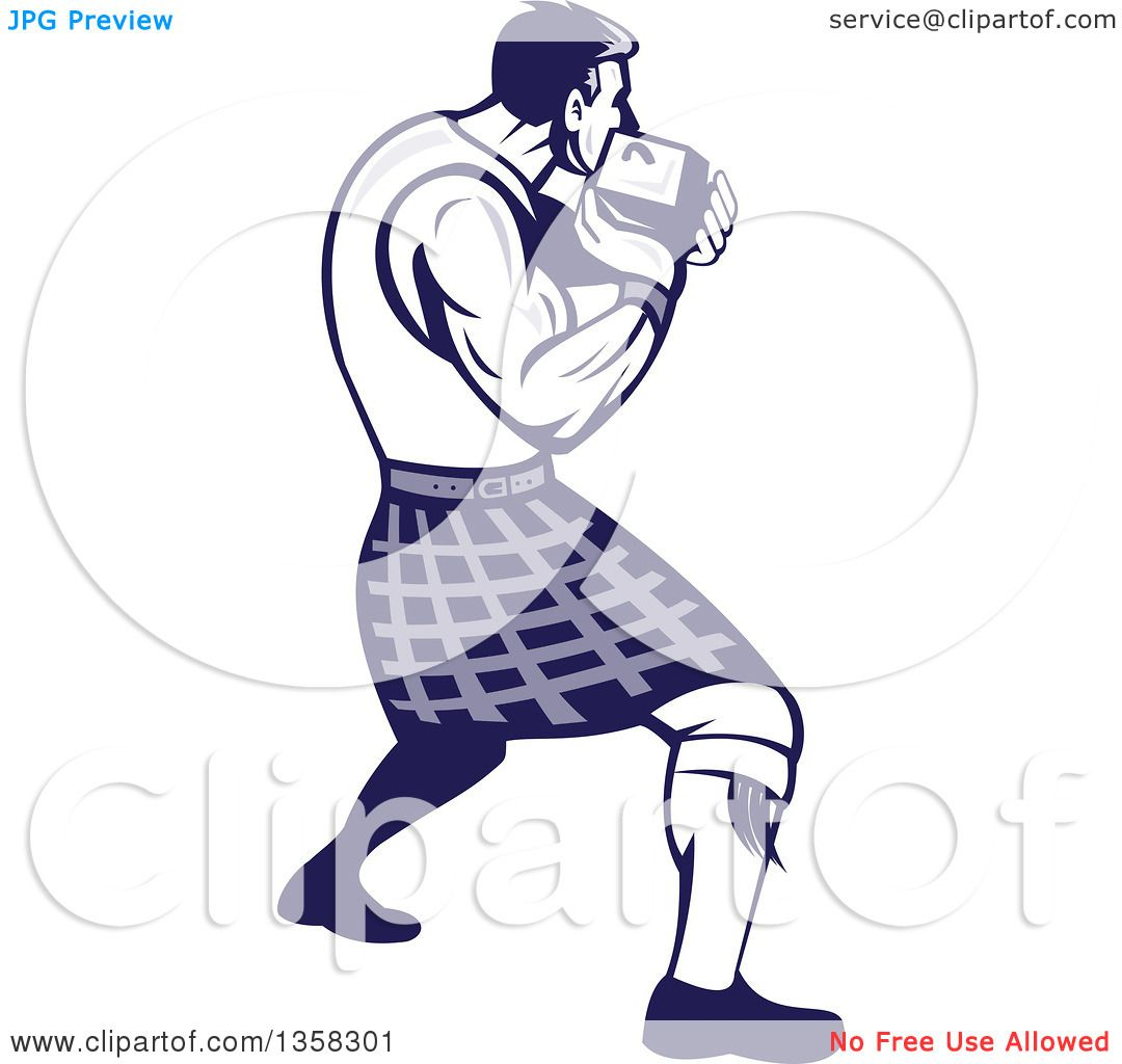 Clipart of a Retro Scotsman Athlete Wearing a Kilt, Playing a ...