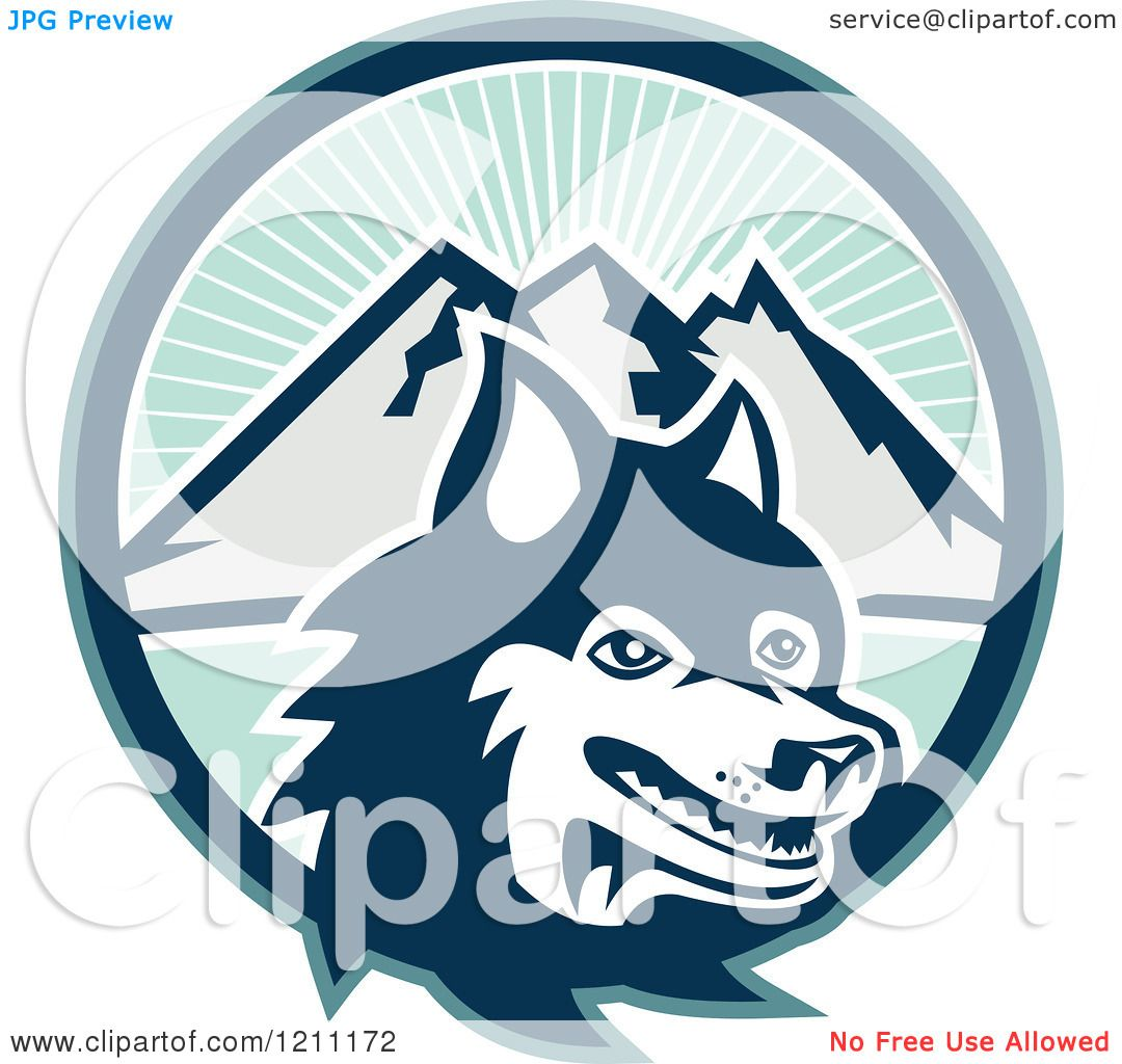 Clipart of a Retro Siberian Husky Dog over Circle of Sunshine and ...