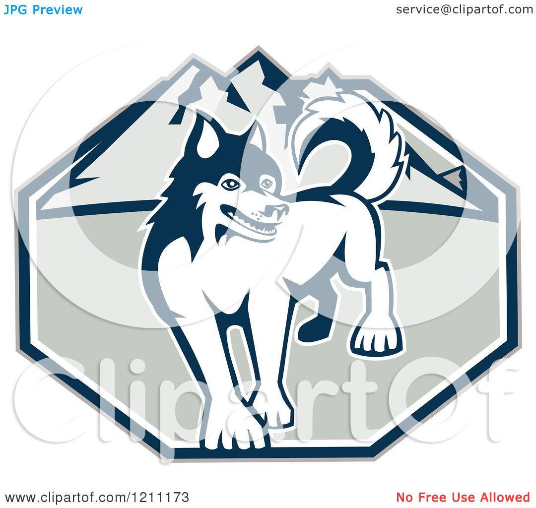 Clipart of a Retro Siberian Husky Dog over Mountains - Royalty ...
