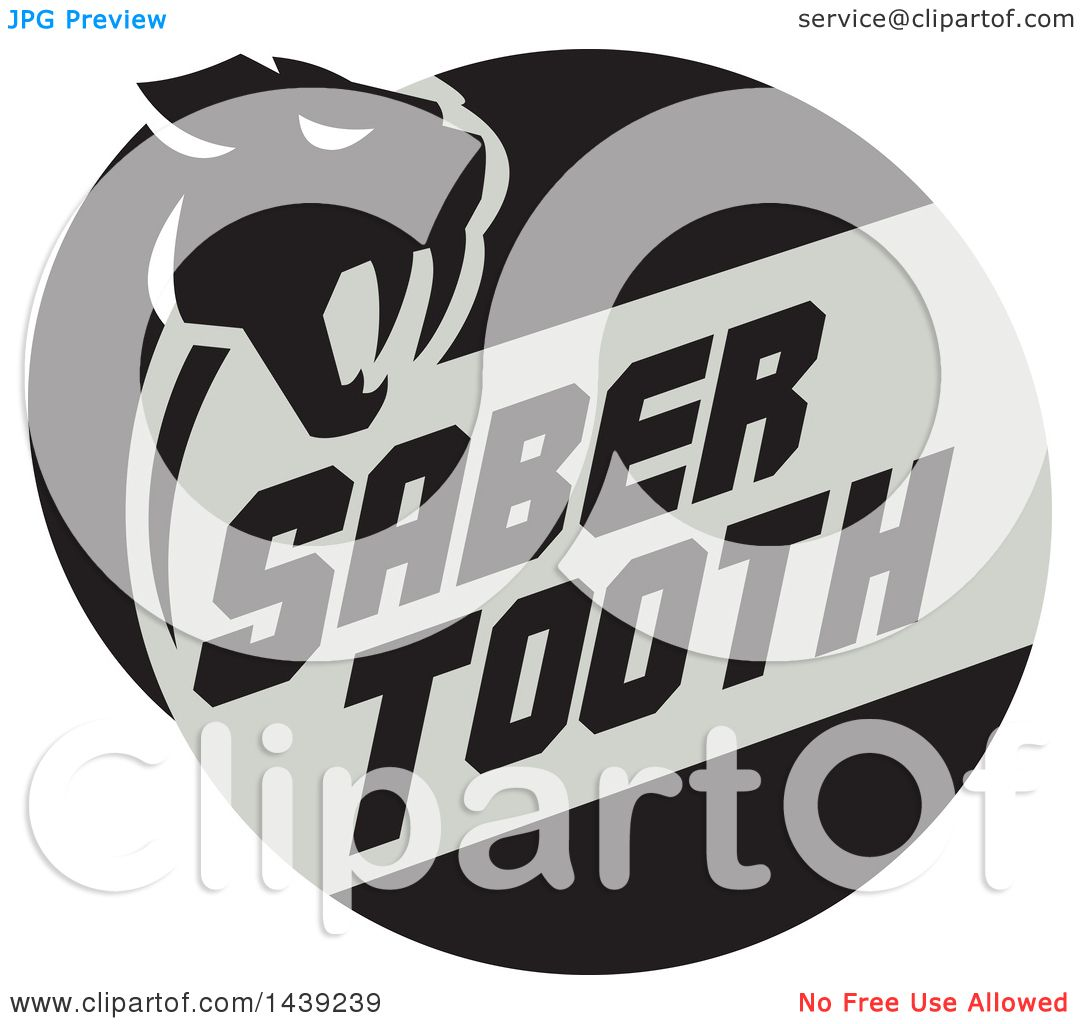 clipart of a retro silhouetted saber tooth tiger cat with text in