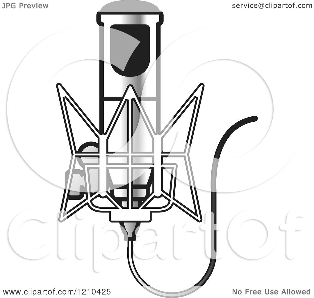 Clipart of a Retro Silver Microphone and Wire - Royalty Free Vector ...