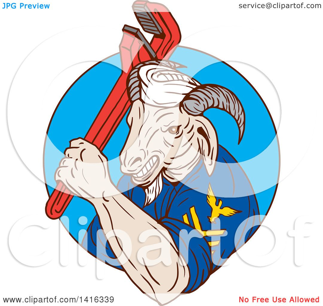 clipart of a retro sketched navy goat man holding pipe monkey wrench in a blue circle royalty. Black Bedroom Furniture Sets. Home Design Ideas