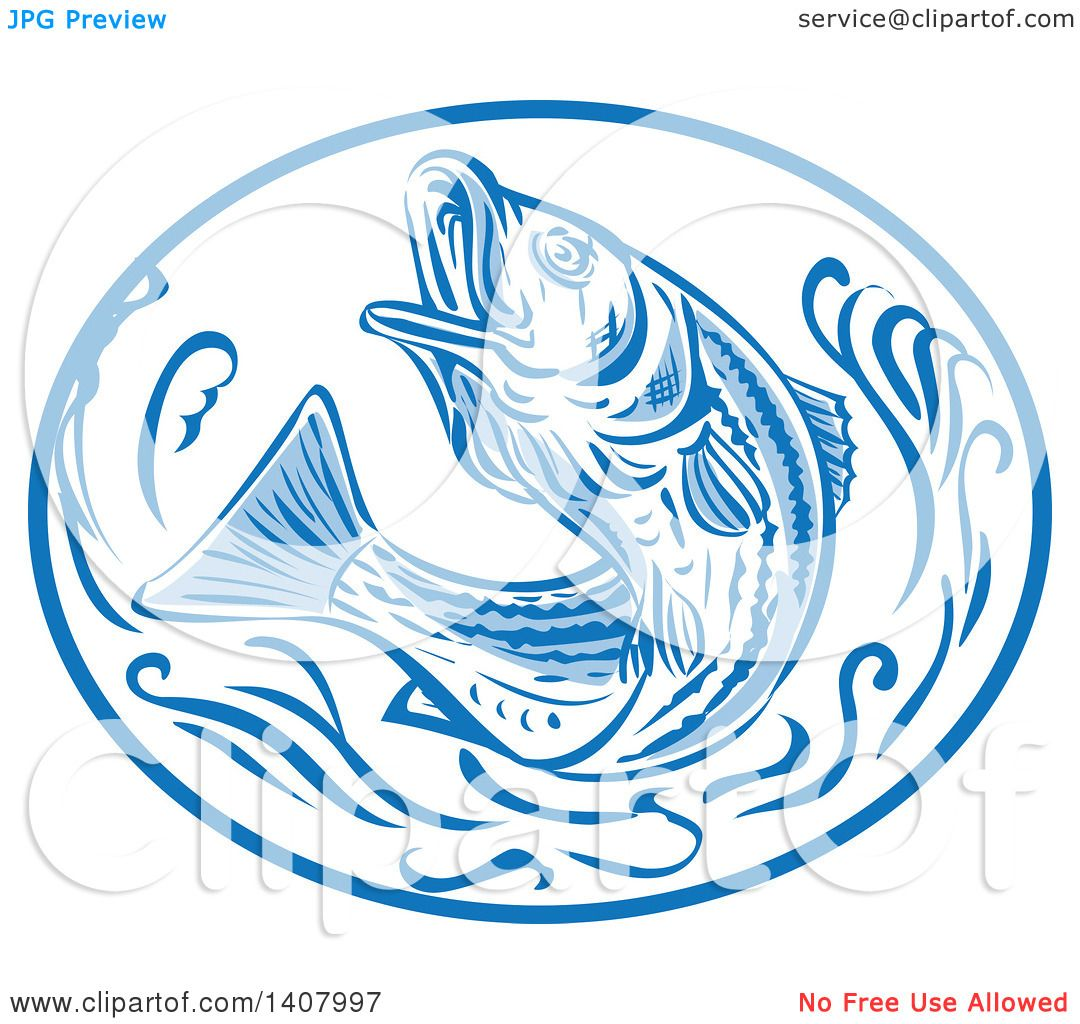 clipart of a retro sketched striped bass rockfish jumping in a blue and white oval royalty. Black Bedroom Furniture Sets. Home Design Ideas