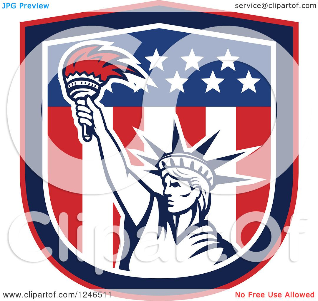 clipart of a retro statue of liberty holding up a torch in an clipart of a retro statue of liberty holding up a torch in an american flag shield royalty vector illustration by patrimonio