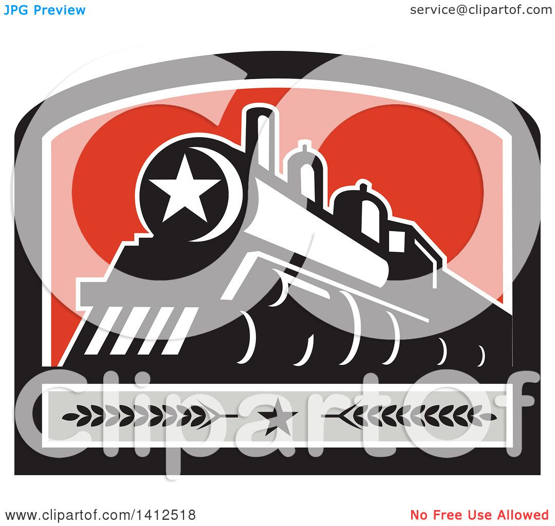 Clipart of a Retro Steam Engine Train with a Star on the