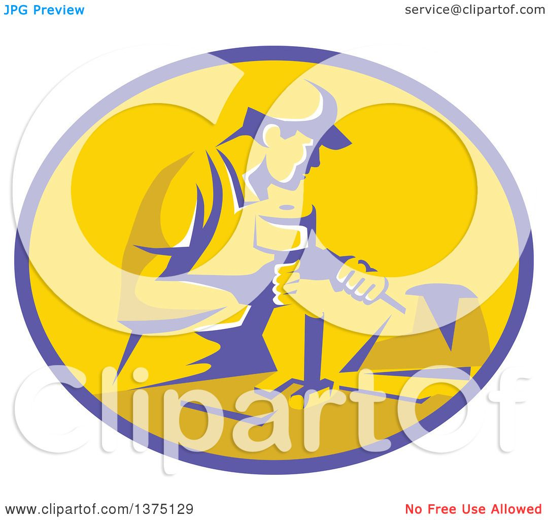 Clipart of a Retro Stonemason Worker Using a Mallet and ...