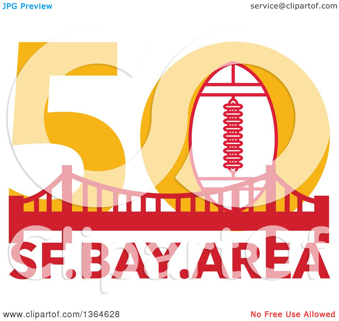 Clipart of a Retro Super Bowl 50 Sports Design with a Football over ...