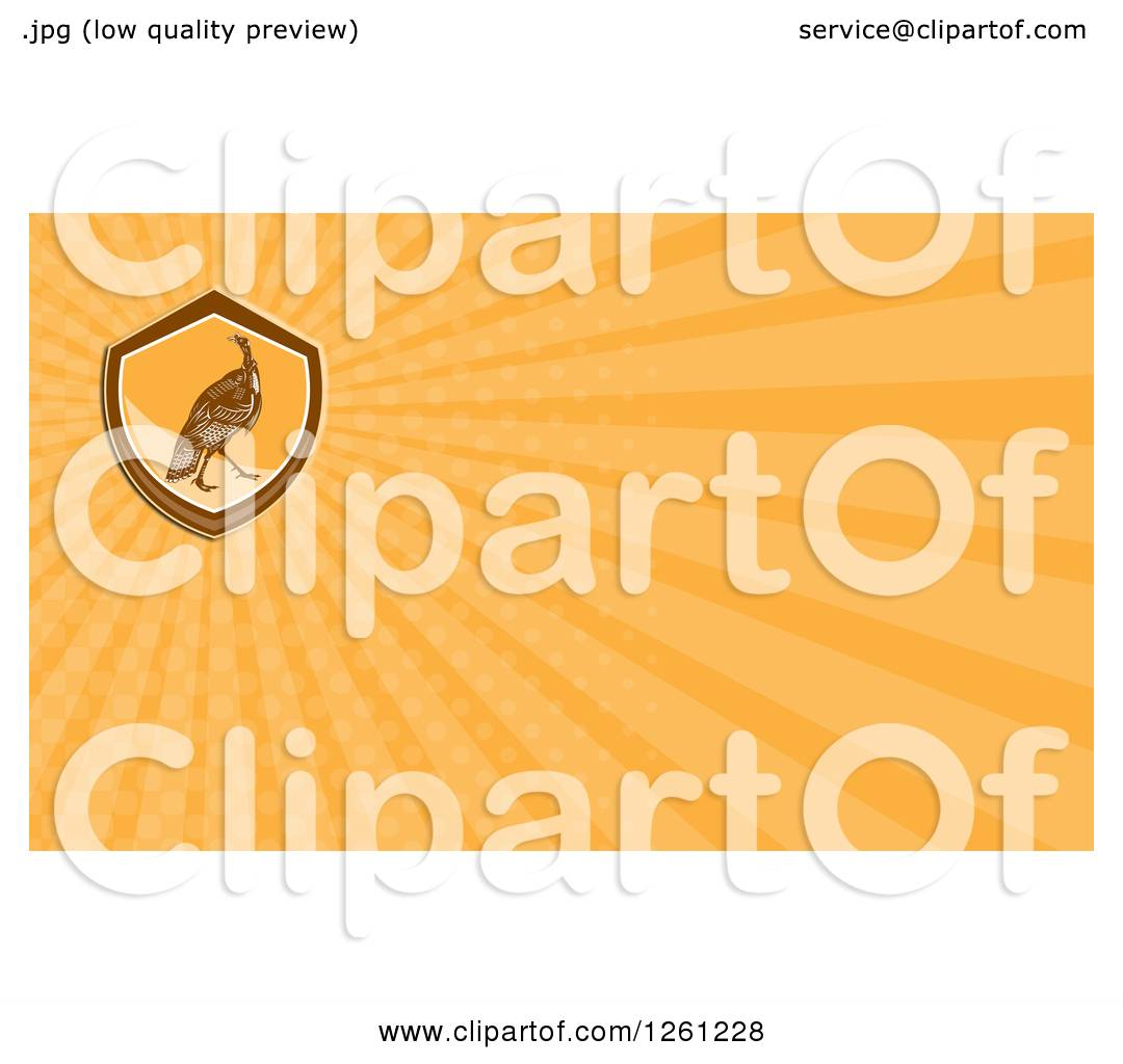 Clipart of a Retro Turkey Bird Business Card Design - Royalty Free ...