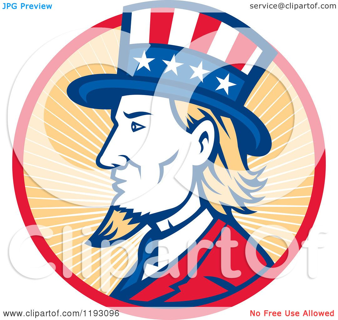 Clipart Of A Retro Uncle Sam With A Patriotic Top Hat In A Circle Of Rays Royalty Free Vector Illustration 10241193096