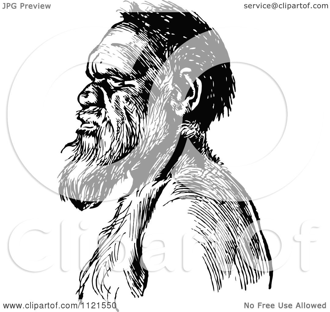 Clipart Of A Retro Vintage Black And White Aboriginal Man