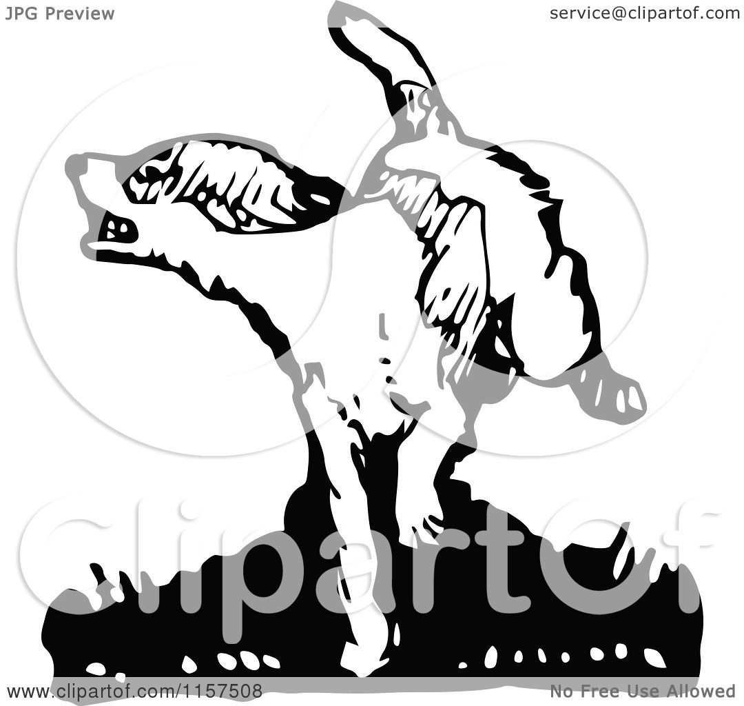 Clipart of a Retro Vintage Black and White Angry Dog ...