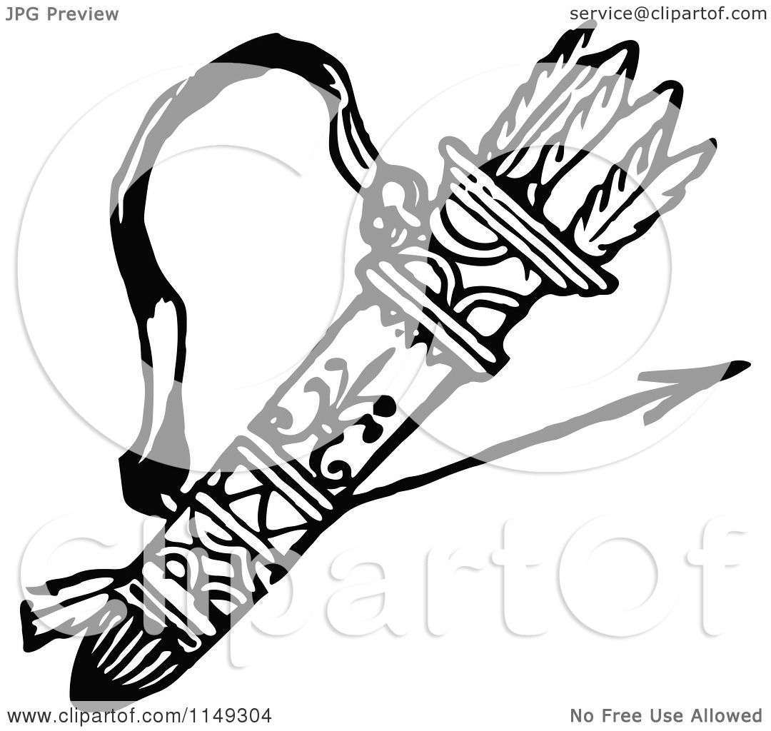 Quiver free coloring pages - Clipart Of A Retro Vintage Black And White Archery Quiver And Arrows Royalty Free Vector Illustration By Prawny Vintage