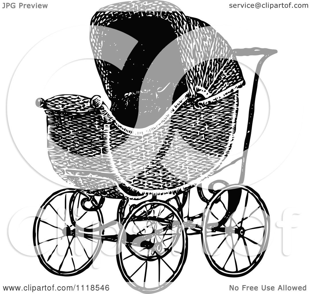 Clipart Of A Retro Vintage Black And White Baby Pram ... (1080 x 1024 Pixel)