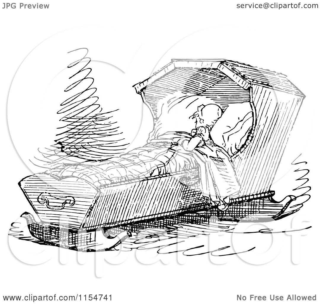 Clipart of a Retro Vintage Black and White Baby Sleeping ...