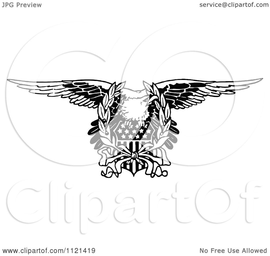 Clipart Of A Retro Vintage Black And White Bald Eagle And ...