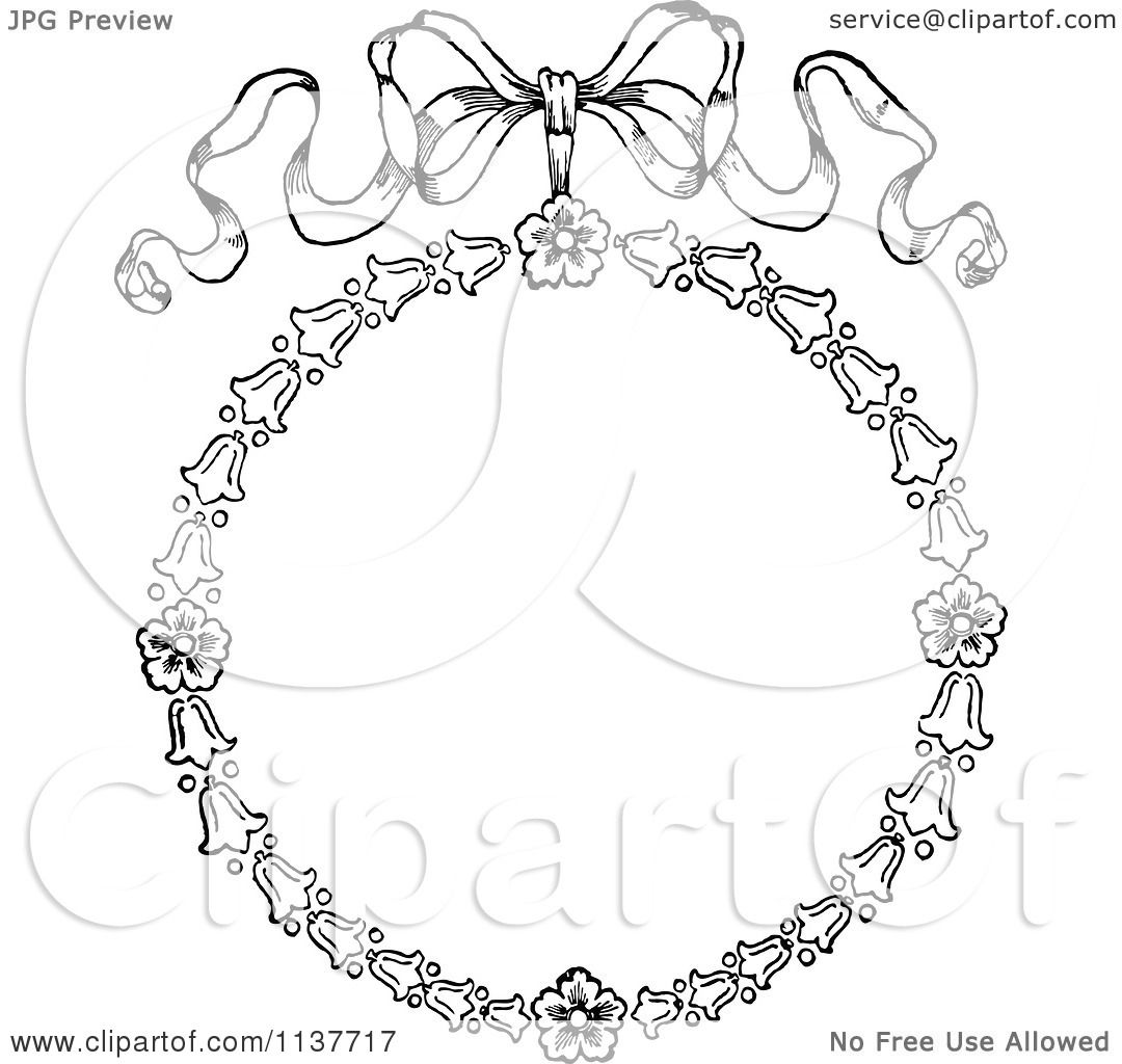 Clipart Of A Retro Vintage Black And White Bow Flower Frame