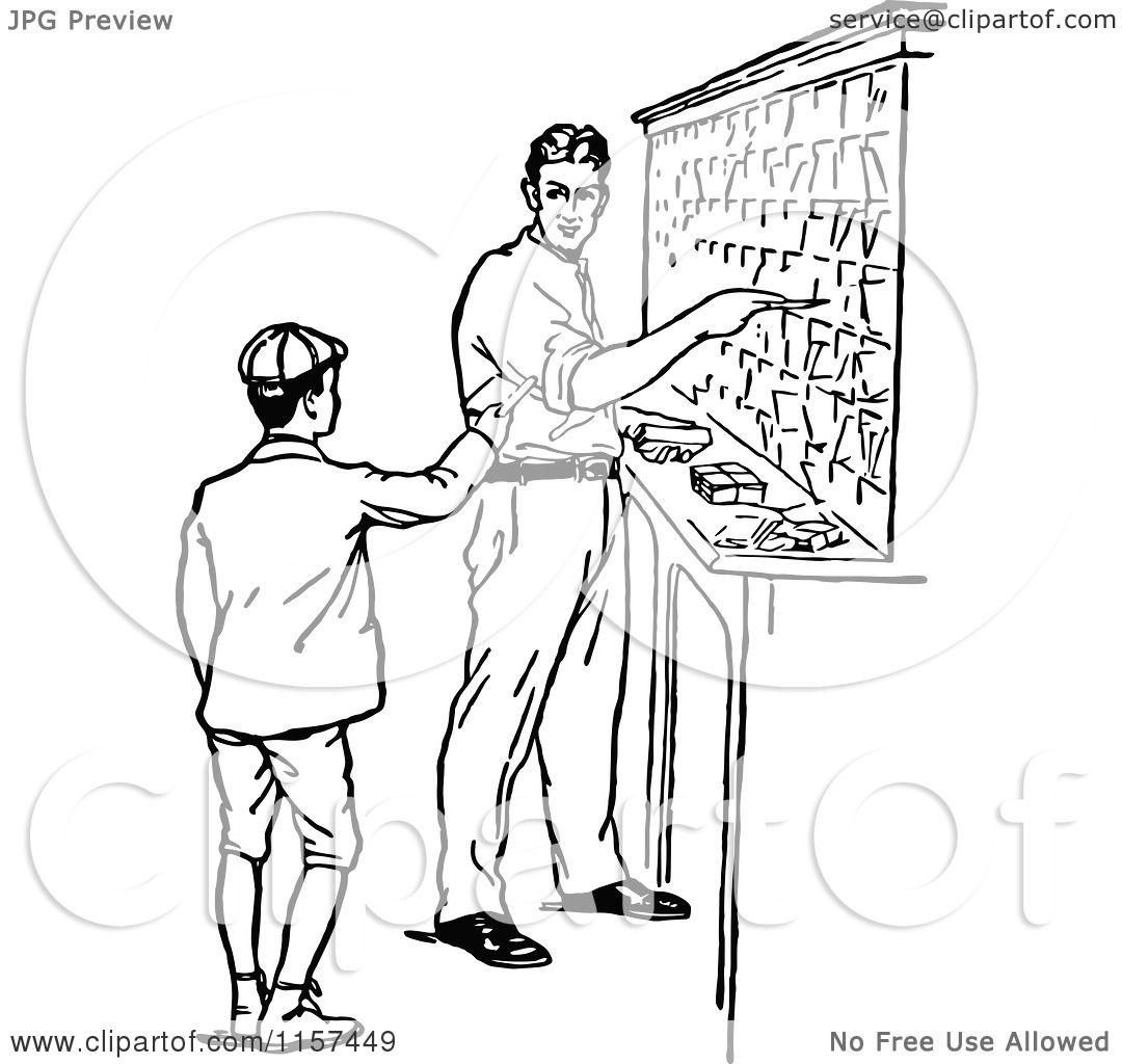 Clipart of a Retro Vintage Black and White Boy and Man in ...