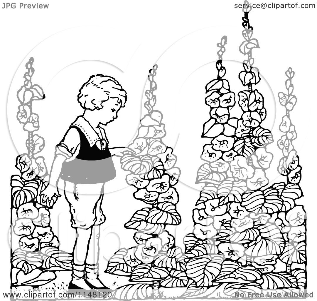 clipart of a retro vintage black and white boy in a flower garden