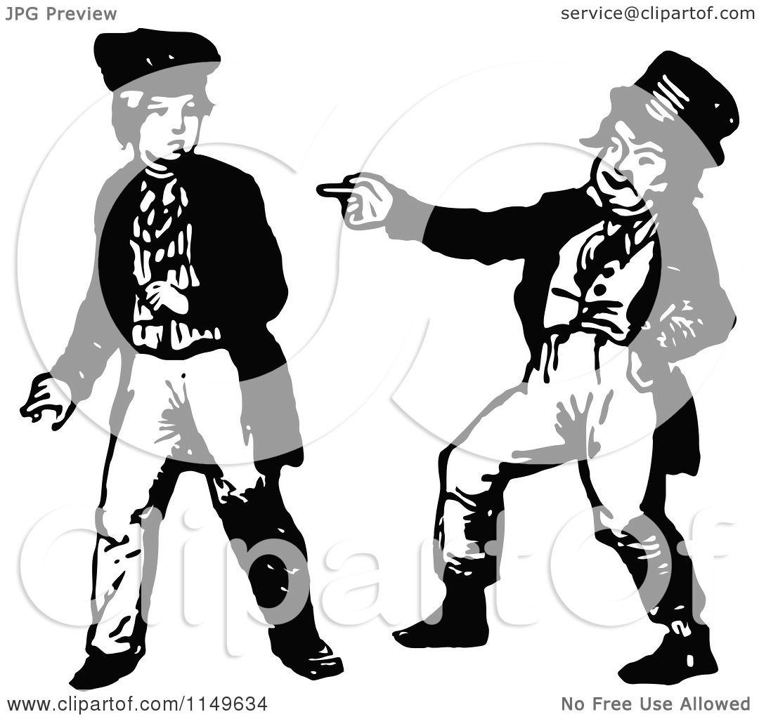 Clipart of a Retro Vintage Black and White Boy Making Fun ...