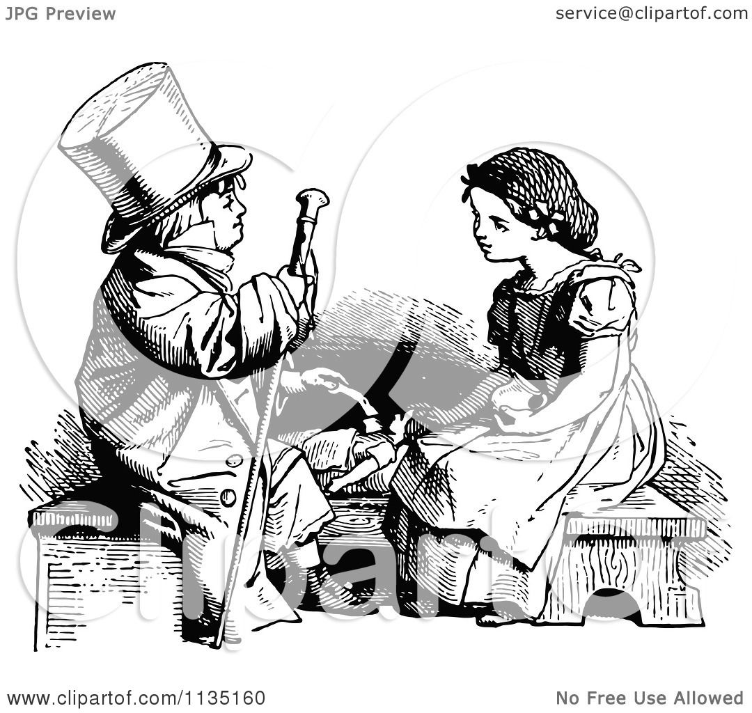 Clipart Of A Retro Vintage Black And White Boy Playing Doctor With Girls Doll