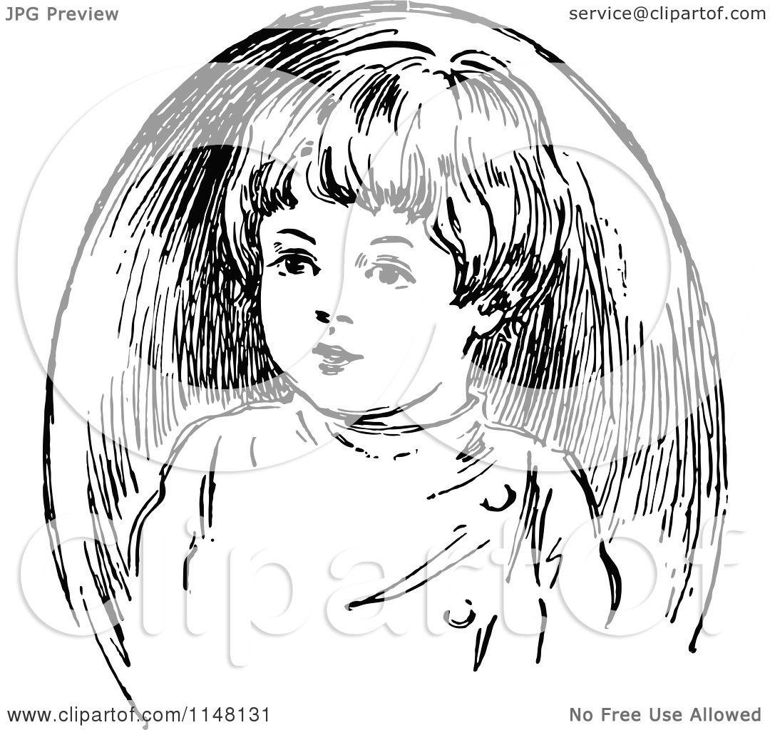 Clipart of a Retro Vintage Black and White Boy Portrait ...