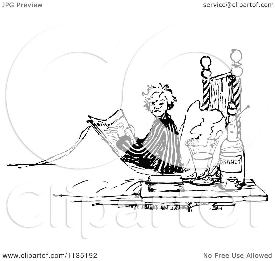 Clipart Of A Retro Vintage Black And White Boy Reading ...