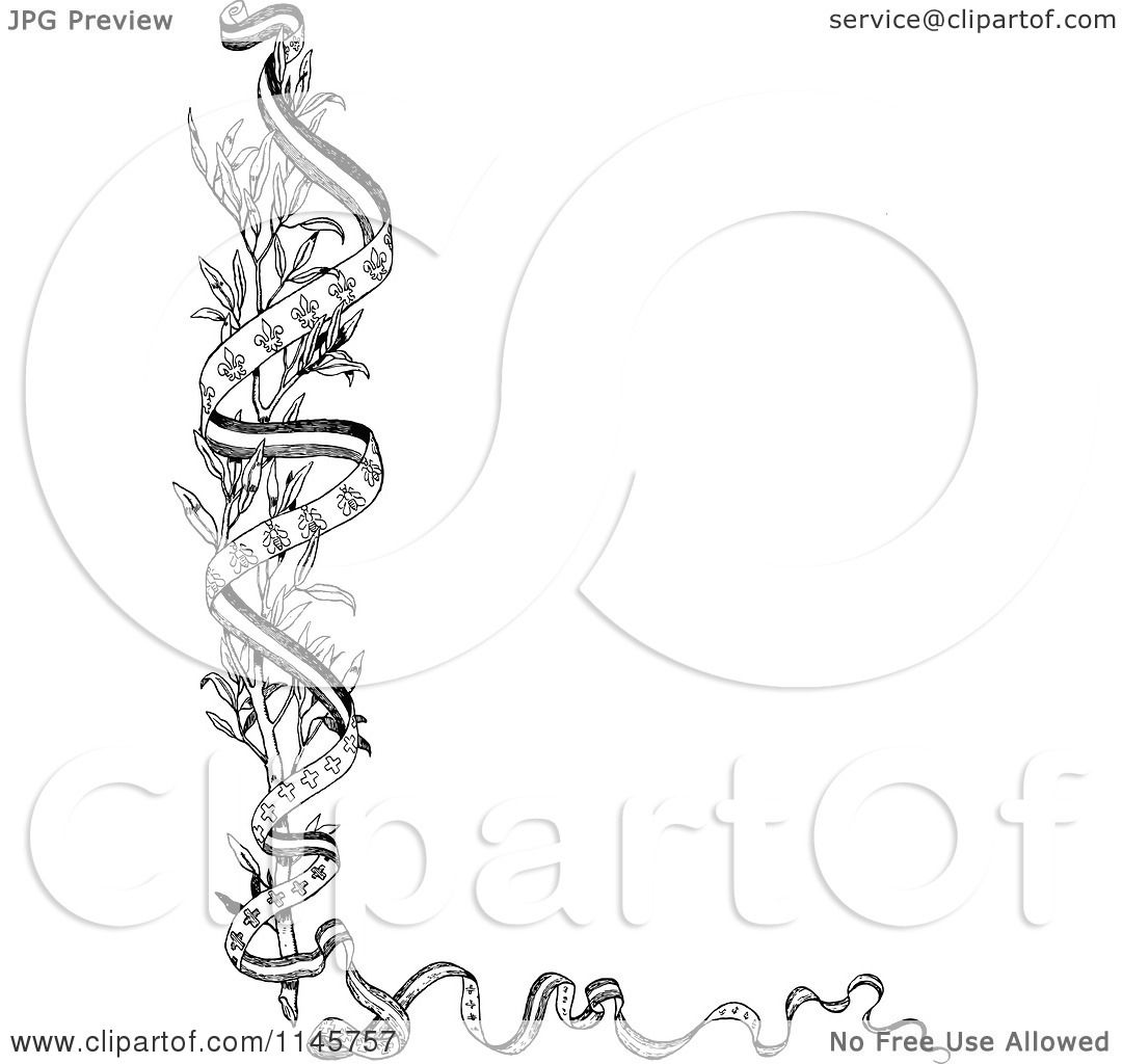 Clipart of a Retro Vintage Black and White Branch and Ribbon ...