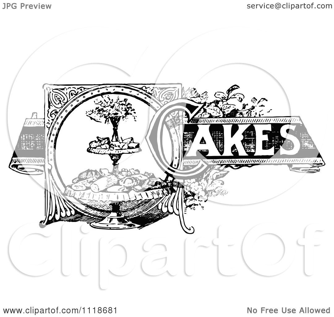 Clipart Of A Retro Vintage Black And White Cakes Recipe Label