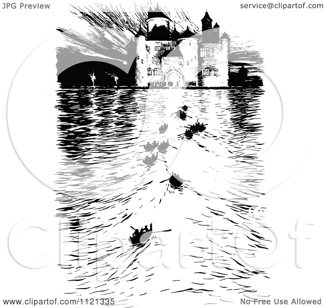 clipart of a retro vintage black and white castle and boats on the