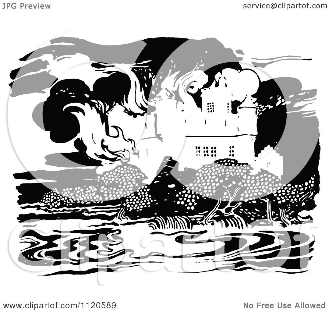 clipart of a retro vintage black and white castle on fire