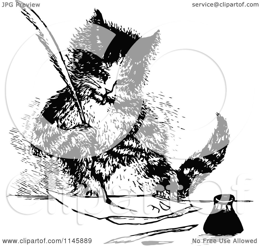 Clipart-Of-A-Retro-Vintage-Black-And-White-Cat-Writing-A-Letter ...