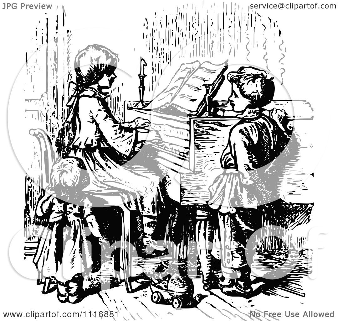Clipart Of A Retro Vintage Black And White Children