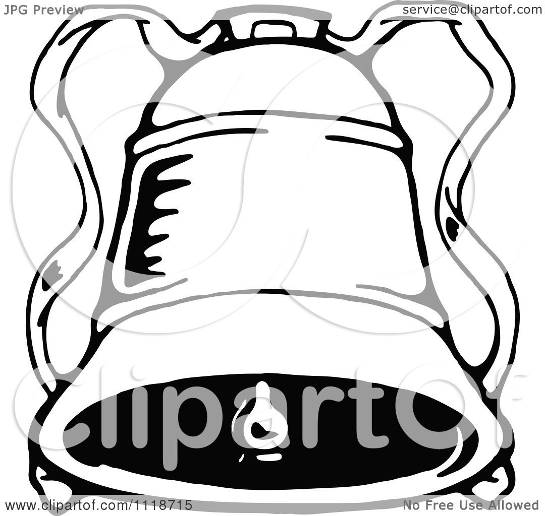 Clipart Of A Retro Vintage Black And White Christmas Bell 1 - Royalty Free Vector Illustration ...